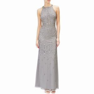 Dresses & Skirts - Silver Beaded Halter Dress, size Small